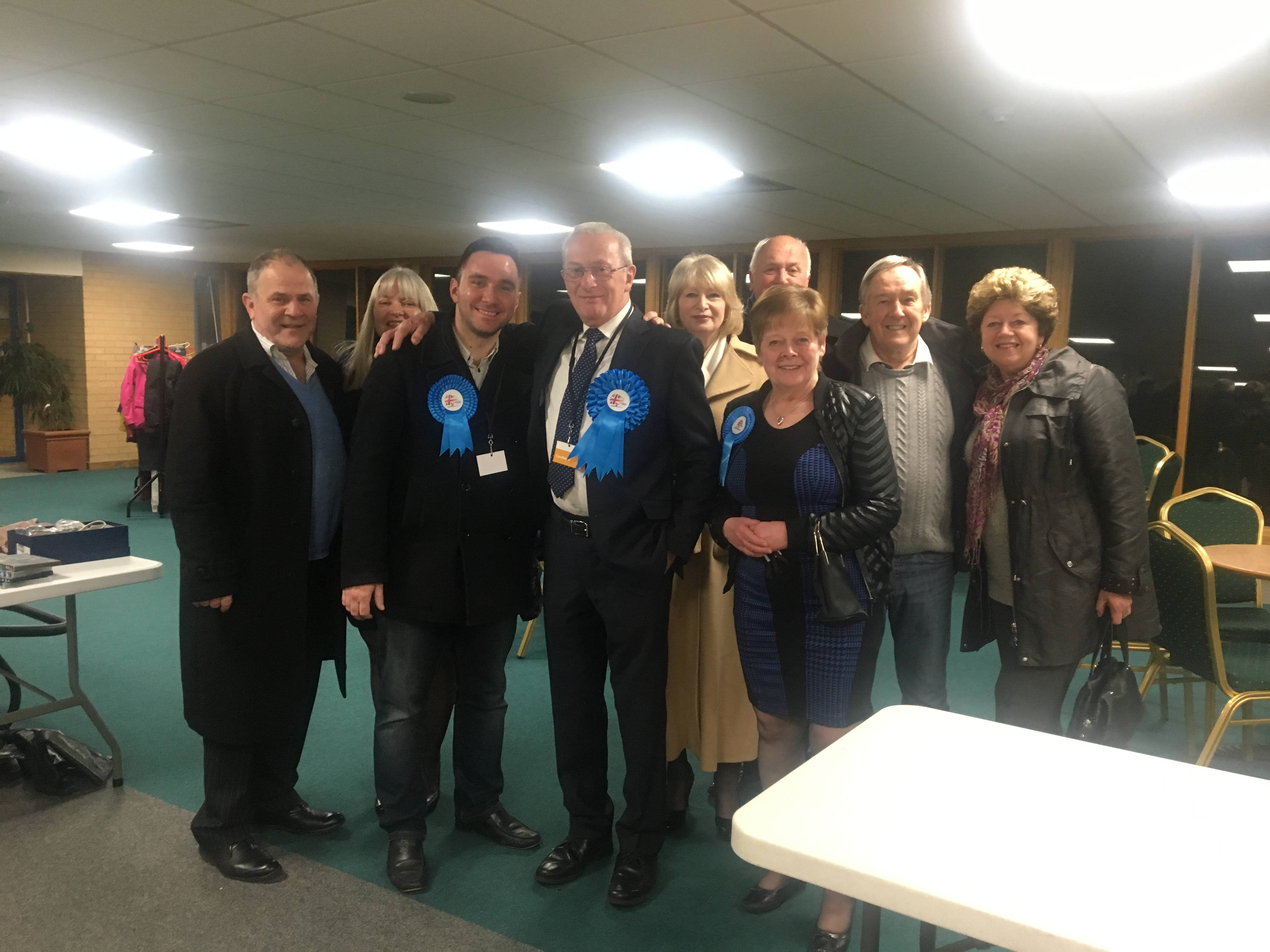 Paul Darrington with  his Conservative team