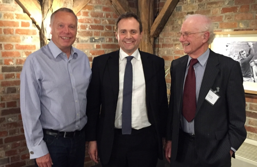 Tom Tugendhat with Constituency Chairman Graham Clack and Supper Club Chairman Paul Julius